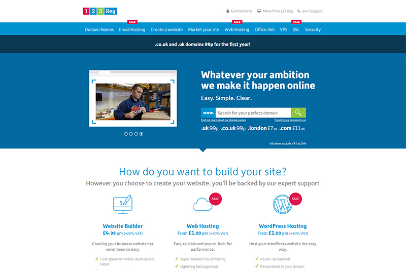 123 Reg domain registration and UK hosting services