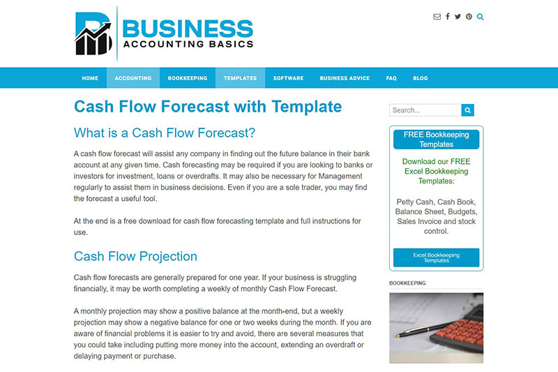 Cash flow forecast with The Business Accounting Basics