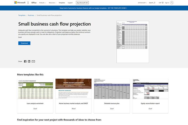 Microsoft small business cashflow template