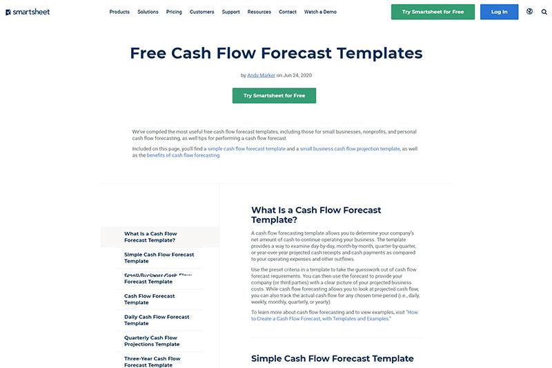Cash flow forecast template