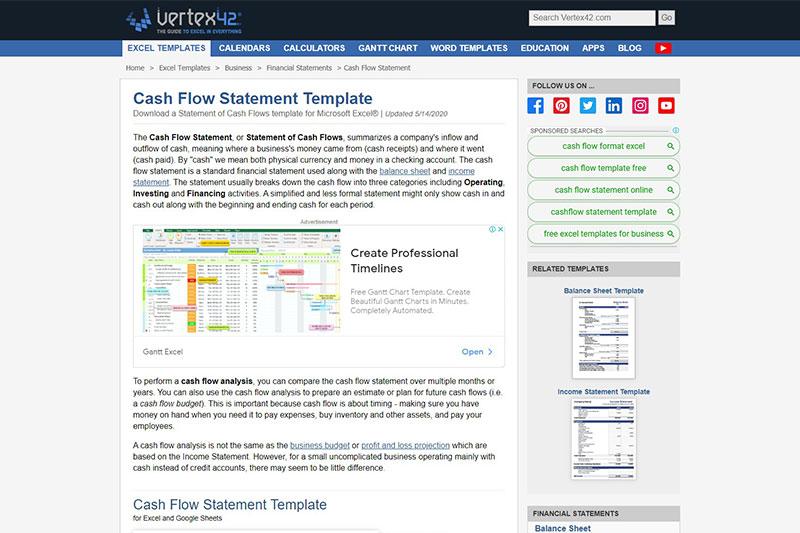 Vertex42 cash flow statement
