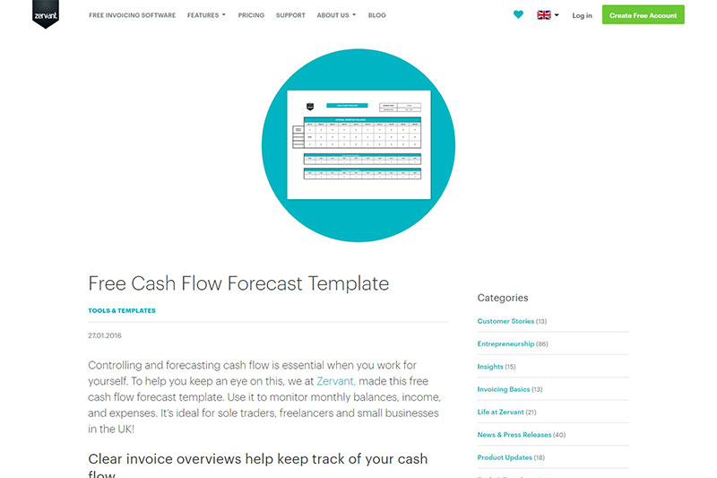 Zervant cash flow template